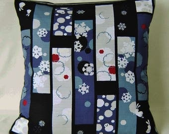 "Japanese Furoshiki Oriental Cushion Cover 19"" x 19"" ' Rabbits and snowflakes'"
