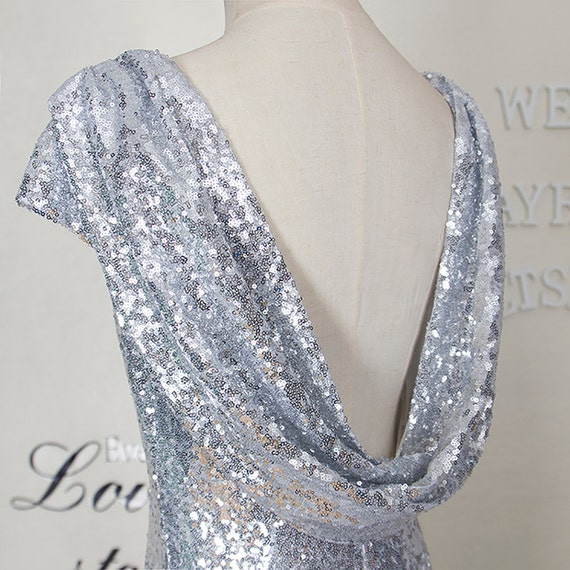 New Fashion sequin prom dress,Silver sequin evening dress,Sexy backless mermaid bridesmaid dress,Long sequin party dress