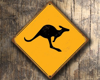 KANGAROO CROSSING SIGN - Kangaroo Crossing Signs, Warning Kangaroo Crossing, Kangaroo Sign, Kangaroo Decor, Kangaroo Xing, Yellow Sign