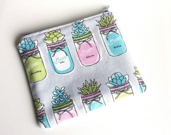 Fabric zippered bag case Succulents-