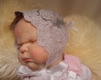 Reborn/Newborn Baby  bonnet in grey  lace for reborn dolls clothes baby homecoming Valentines day Photo prop Silicone reborn baby doll