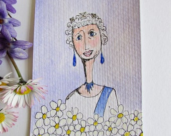 Original Aceo, Queen Small Art, Yes Ma'am, QE2 Elizabeth Aceo, Trading Card Art,