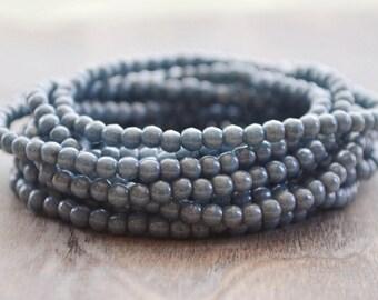 100 Denim Blue Luster Druk 3mm- Czech Glass Beads (234-100)