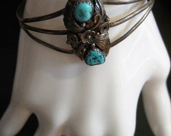 Vintage Native American Navajo Sterling Silver Turquoise Bracelet