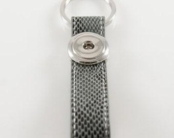Full Grain Leather Gray Keychain