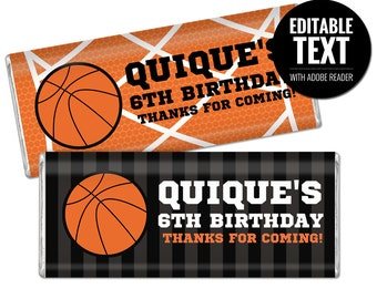 Basketball chocolate bar wrappers for your party favors - Sports birthday - Basketball party - Printable and Editable PDF file.