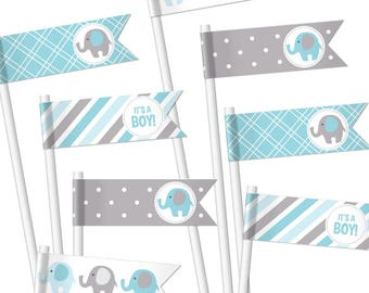 Elephant Baby Shower Cupcake Flags. Printable Straw Flags. Cupcake Toppers. Cupcake Picks. Baby Boy Decor. Blue and Gray Decorations
