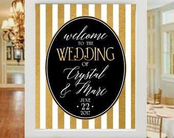 "16""x20"" Black, White & Gold Striped Victorian Style Wedding Sign - Welcome Wedding Poster  -  Personalized (UNFRAMED)"