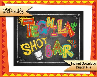 Printable Tequila Bar sign, Fiesta Party chalkboard sign, Mexican Party sign,  Cinco De Mayo Decor, fiesta birthday, wedding fiesta sign