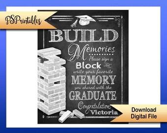 Printable Grad Sign, Sign a block graduation sign, personalized grad sign, 2017 graduate sign, DIY graduation party, graduation party decor