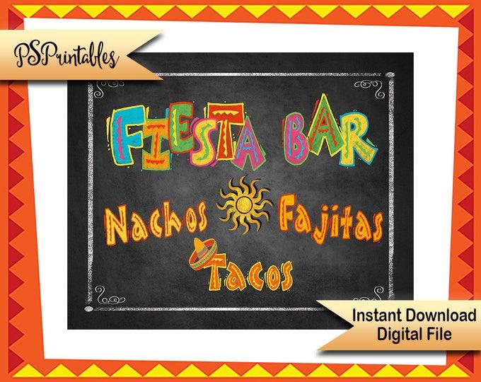DIY Fiesta Sign, Printable Fiesta Sign, Mexican Party Decor, Fiesta decor, wedding fiesta, fiesta birthday, cinco de mayo, Fiesta food signs