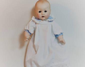 """Vintage Porcelain Doll Baby Boy, USPS, 12"""" Doll"""