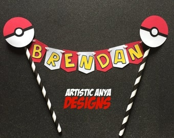 Pokemon Go Cake Bunting Topper Personalized - Pokemon Party - Pokeball Decorations - Team Mystic Valor Instinct