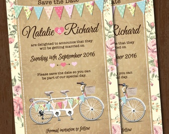 Tandem Bike Bunting Wedding Save the Date Card