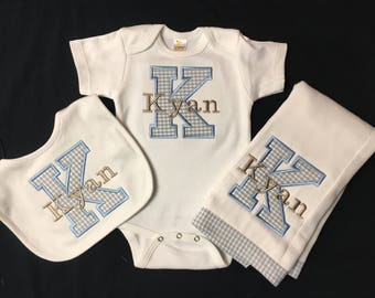 Newborn Baby Boy Monogrammed and Appliqued Inital 3 Piece Gift Set,Appliqued Bodysuit, Matching Appliqued Bib and Appliqued Burpcloth