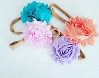 Shabby flower on a nylon headband.