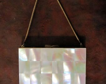 Vintage Mother of Pearl evening bag.  1940's or 50's. Excellent condition, useful today.