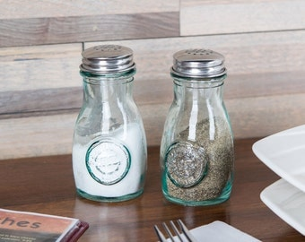 GREEN GLASS Salt and Pepper Shakers with Stainless Steel Tops- 2 Pieces-Made from Recycled Green Glass-4-Oz Shakers