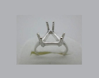 5x5mm -10x10 mm Trillion / Triangle 6-Prong Pre-Notched Sterling Silver Ring Settings Sz 7