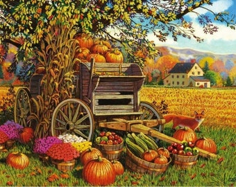 Fall Harvest Cross Stitch Pattern
