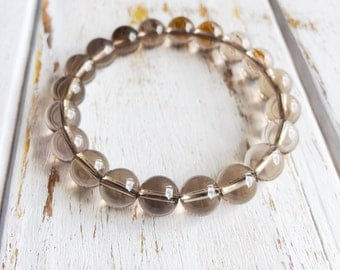 Genuine Smokey Quartz Bracelet, 4mm Smokey Quartz Bracelet, 6mm Smokey Quartz Bracelet, 8mm Smokey Quartz Bracelet, Stacking Bracelet