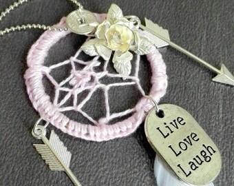 Dreamcatcher necklace hippie chic boho