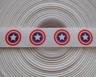 "CAPTAIN AMERICA 7/8"" 22mm Grosgrain Hair Bow Craft Ribbon 1538"