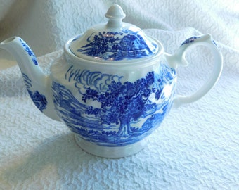 Vintage Windsor Blue and White Teapot Made in England