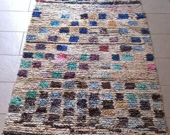 Moroccan rug boucherouite 208 ( boucharouette) 182 x 101 cm (5'97'' x 3'31'') berber tribal art
