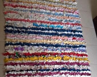 Moroccan rug boucherouite 208 ( boucharouette) 178 x 118 cm (5'84'' x 3'87'') berber tribal art