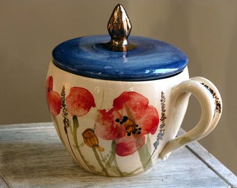 ceramic cup, Handmade coffee mug, ceramic mug with lid, poppies mug, tea mug,