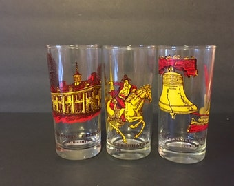Vintage Glassware Bicentennial Celebration 1776-1976 Collectible Tall 12 oz Tumblers Patriotic Americana
