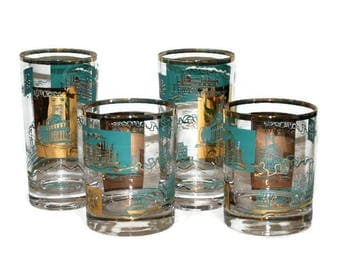 Turquoise and Gold Steamboat Riverboat Sidewheeler Promotional Barware Glasses by Southern Comfort