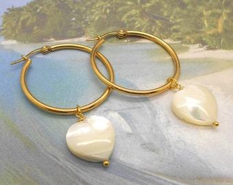 Hoop Earrings, Heart Earrings, Beach Jewelry, Sea Shell Earrings, Beach Wedding, Gold Hoop Earrings