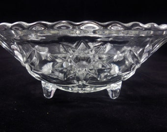 Three Toed Bowl EAPC Anchor Hocking Early American Prescut Scalloped Edge Vintage Glass