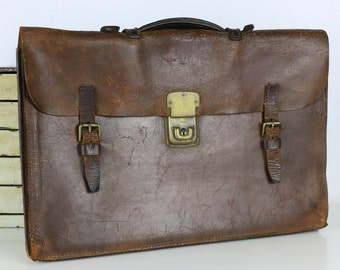 Vintage Leather Women or Mens Satchel Brown Laptop Bag Breifcase