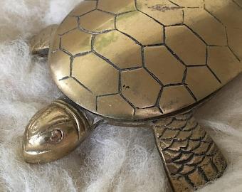 Vintage Brass Turtle Hinged Trinket Holder Catch All Dish