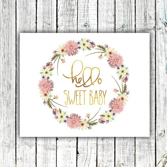 Nursery Wall Art, Printable, Baby Girl, Gold, Hello Sweet Baby, Digital Download Size 8x10 #570