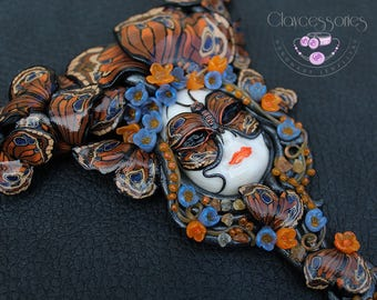 Butterfly necklace / Butterfly jewellery / Art Nouveau necklace / Venetian mask / Moth necklace /Statement necklace / Polymer clay necklace