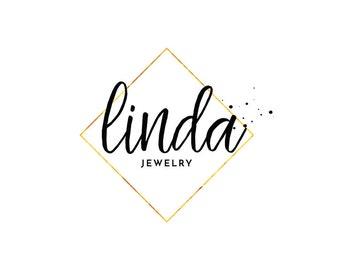Custom Logo, Gold Frame Logo, Premade Logo, Logo Design, Business Branding, Logo, Gold Diamond Logo