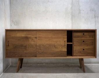 "60"" Solid Black Walnut Buffet Table/ Sideboard/ Cabinet/ Credenza *"