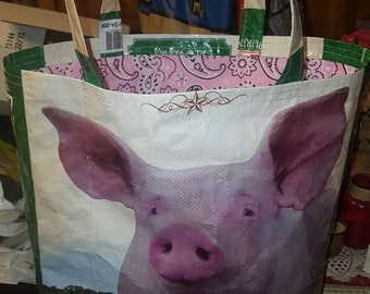 Recycled feed sack bag/purse/tote pig w/pink paisley liner