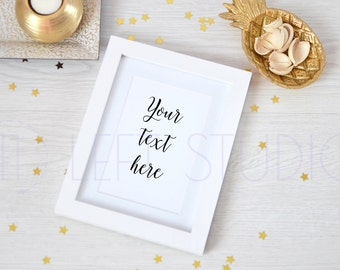 Gold mockup, white frame mockup, golden stars, desktop mockup, Christmas mockup, product photography,  ref. 16049