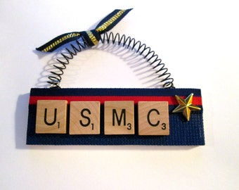 USMC Marine Corp Scrabble Tile Ornament