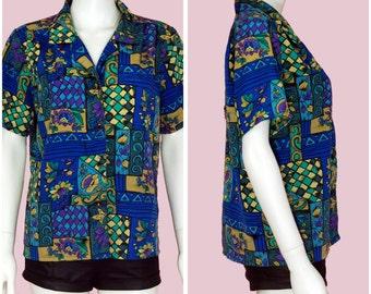 Vintage 90s Blouse Satin Floral Print Short Sleeve Blue Shirt Small