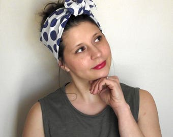 Upcycled Head Scarf - White with Blue Polkadots