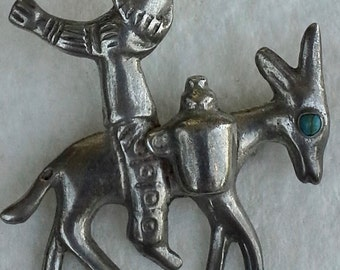 Vintage Mexico sterling silver, turquoise Donkey burro & rider man pin/brooch