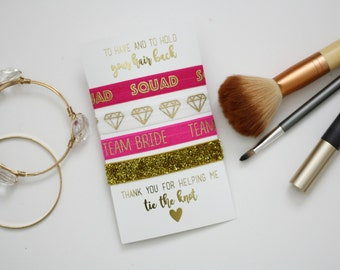 Gold Bridesmaid hair tie set with display card, bridesmaid box, bridesmaid proposal, bridesmaid favor, bridesmaid gift, weddin