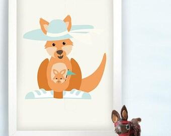 Nursery wall art - Happy kangaroo with cute joey - Nursery Wall art print - kids room wall art - boy and girl