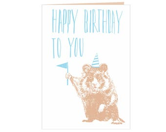 Happy Birthday card - Happy Birthday to you! - Wild Hamster - best friends birthday - nature funny - animals with hats - party card - eco